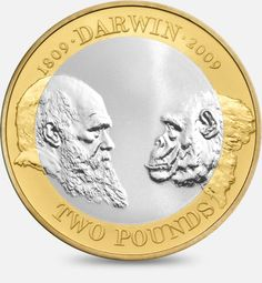 200th Anniversary of Charles Darwin's birth - 2009  http://www.royalmint.com/discover/uk-coins/coin-design-and-specifications/two-pound-coin/2009-charles-darwin