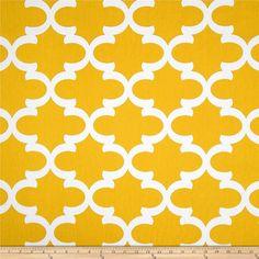 SALE - Premier Prints Fynn Corn Yellow Fabric - Corn Yellow and White Slub Quartrefoil Lattice Print - Fabric by the half yard
