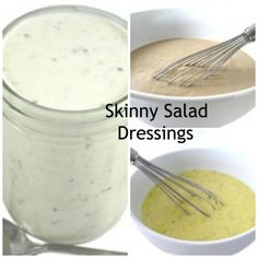 First, I'm sharing my recipe for a fantastic, skinny ranch dressing. It's so easy to make with just 3 ingredients, and taste even better than most fattening ones bought at the supermarket! The other fabulous four dressings use this skinny ran