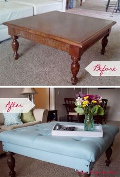 DIY, up-cycle, recycle - redo your coffee table into an ottoman.    Use upholstery fabric of your choice, upholstery deco nails and trim to style it all your own.  Tufted or not this is a great idea.
