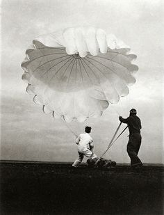 'Parachute', 1937 by Margaret Bourke-White.  Part of a photographic sequence of parachutes being tested by employees of Irving Air Chute Company in Buffalo, New York, the world's largest manufacturer of parachutes.