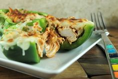 Stuffed Philly Chicken Peppers Recipe - delicious, easy, and healthy!! #skinnymsrecipes #stuffedpeppers