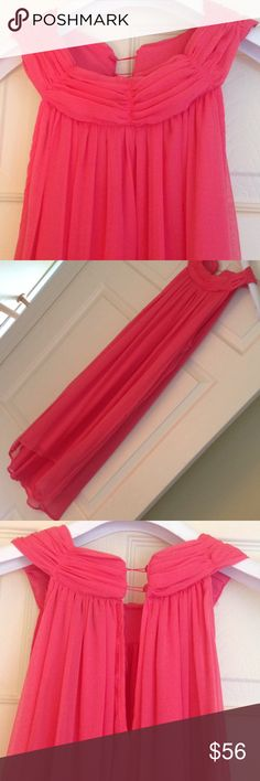 Oh oh oh. Look at this adorable dress. The floaty fabric overlay, the beautiful hem! The neckline is so flattering. The coral color with a tan?  Shut the front door!  Never worn. Dresses Midi