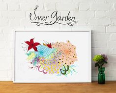 Colorful art, peaceful art, kids room, flower drawing. A4, A3, A2 sizes. by RsInnerGarden on Etsy