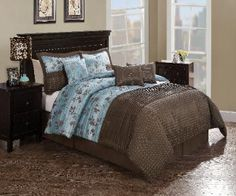 Chocolate Aqua Pleat Bedding  Chocolate Aqua Pleat comforter set is pieced   from jacquard woven cloth and features pleated   highlights. Bring a soft touch of a floral leafy   vine in a jacquard woven fabric on an aqua blue   base into your bedroom to give you a sense of   peace and quiet. The foot of the bed is adorned   with a large deep chocolate brown solid color   with detailed pleating to add a surface texture   to frame the ensemble.