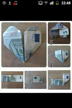 Give money to heart - Origami İdeas Cheap Gifts, Diy Gifts, Folding Money, Prank Gifts, Money Origami, Origami Heart, Idee Diy, Inspirational Gifts, Wedding Gifts