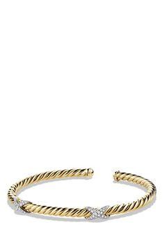 David+Yurman+'X'+Bracelet+with+Diamonds+in+18k+Gold+available+at+#Nordstrom
