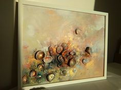 Abstrakte Kunst goldene Meer Signed eingerahmt von COLORSofmyeARTh