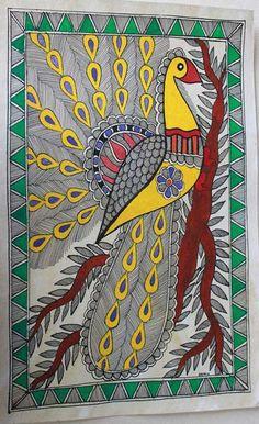 Rare peacock madhubani - design for my handmade greetingcards..