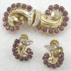 Coro Amethyst Rhinestone Duette & Earrings Set - Garden Party Collection Vintage Jewelry