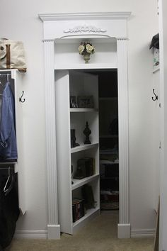 DIY Hidden / Invisible / bookcase door!! I like this example of one going to a closet. Would be a great addition to the office so I can keep it looking professional and still have a secure storage location. http://www.rockler.com/hardware/project-hardware/specialty-project-hardware?hardware_specialty_type=10443