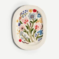 White Garden Posey Oval Platter (Large) is a vibrant, floral piece from a new collection by ceramicist Rachael Cocker. Painted Ceramic Plates, Painted Pots, Ceramic Painting, Painted Ceramics, Pottery Pots, Ceramic Pottery, Painted Pottery, Pottery Painting Designs, Pottery Designs