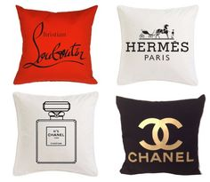 Chanel, Louboutin, Hermes Inspired Pillows—love these for my dressing room! My New Room, My Room, Chanel Decor, Chanel Room, Prince Charmant, Glam Room, Beauty Room, Mode Inspiration, Diy Home Decor