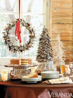 Nashville Holiday Decor -Decadent Dessert Display Image originally appeared in the December 2007 issue of VERANDA. Noel Christmas, Christmas And New Year, All Things Christmas, White Christmas, Christmas Buffet, Christmas Mantels, Christmas Design, Christmas Tablescapes, Christmas Decorations