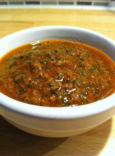 Chermoula is a key element of Moroccan cooking. It is incredibly useful to everything. I often make a larger batch and store in the refrigerator where it will stay for long. Great for example Salmon, potatoes. Crockpot Recipes, Sauce Recipes, Cooking Recipes, Healthy Recipes, Chutney Recipes, Marinade Sauce, Barbacoa, Ramadan, Food To Make
