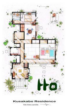 Tonari no Totoro house floorplan.  I really, really want to live here.