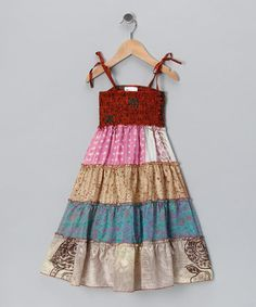 $9.99 Take a look at this Blue & Gold Tiered Sundress - Girls by India Boutique on @zulily today!