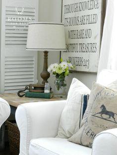 white slip covered chair