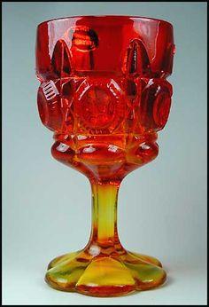 Bulls Eye & Daisy Water Goblet Amberina Color Kanawha