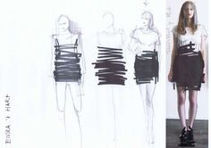 "Fashion Sketchbook - fashion design drawings & development // ""Wearable Drawings"" collection by Elvira 't Hart"