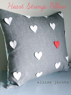 Get ready for Valentine's Day early by creating a modern-looking heart strings pillow. Courtesy of Allisa Jacobs, this pillow features cute felt hearts on one side and any pattern you'd like on the other side. Click in to start creating!