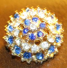 1940s vintage 1 inch  swarovski blue and white glitz pin shop etsy - VintageAngeline  $25.00    sold