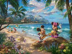 Mickey and Minnie in Hawaii Thomas Kinkade Studios Disney Mouse Arte Disney, Disney Mickey, Disney Art, Disney Mouse, Sea Creatures Drawing, Creature Drawings, Pixar, Thomas Kincaid, Thomas Kinkade Disney