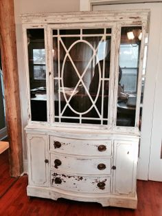 Repurposed Gems: Raw Silk Antique Hutch - $500