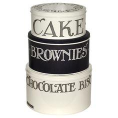 """Black Toast"" Black Toast Hatch Set of 3 Cake Tins at Emma Bridgewater Brownies, Brownie Cake, Cake Storage, Food Storage, Storage Containers, Storage Ideas, Basic Food Groups, Emma Bridgewater Pottery, Plastic Food Containers"