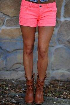 Hot pink shorts & cowboy boots! I own these shorts and I love love love them!