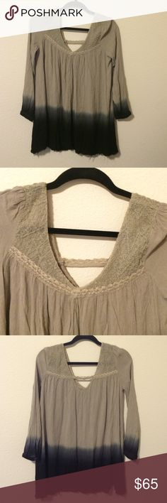 Free People ombré shirt Brown to black ombré shirt. Has fun stitching along the chest and shoulders. Excellent condition Free People Tops Blouses
