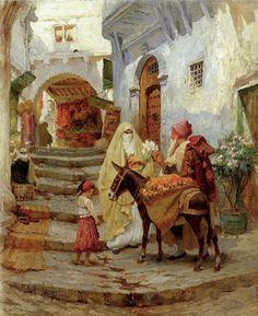 Algérie - Peintre American Frederick Arthur Bridgman (1847-1928) , huile sur toile 1920 , Titre : Marchant d'oranges