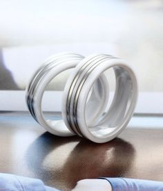 Ceramic wedding bands white