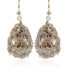 Jordan Alexander Gold Wire Wrap Tahitian Pearl Earrings ($1,100) ❤ liked on Polyvore