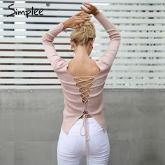 $34.58 - Nice Simplee Sexy backless lace up knitting pullover top Fashion slit cuff autumn winter sweater women Chic pink jumper pull femme - Buy it Now!