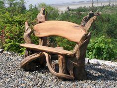 meubles extérieurs: banc de jardin en bois flotté