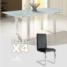 """Conjunto  de para comedor extensible en cristal blanco puro y sillas con estructura en forma de """"C""""."""