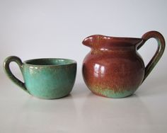 Pine Ridge Sioux Pottery Pitcher and Cup, Brown and Turquoise. $107.00, via Etsy.