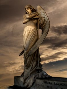 Statue of angel (Photo effect) by Giulio Monteverde (1837-1917), Oneto family monument, Monumental Cemetery of Staglieno, Genova, Italy.
