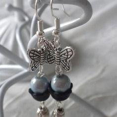 Boucles papillons bleu