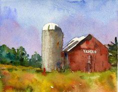 Landscape Painting, Max Yasgurs Farm, watercolor print of Woodstock, classic red barn Watercolor Barns, Watercolor Landscape, Watercolor Print, Landscape Paintings, Watercolor Paintings, Watercolors, Barn Paintings, Watercolor Ideas, Landscapes