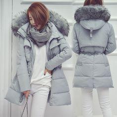 f919772539fdc Pas cher 2016 new hiver femmes veste moyen long épaississement mince  qualité grand raton laveur col