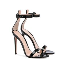 This version of the label's signature Portofino sandal is made from lustrous black patent leather. The new stiletto heel creates a stunning arch that beautifully accents and lengthens the leg. Ankle Straps, Ankle Strap Sandals, Black Sandals, Sandal Heels, Red Wedding Shoes, Bridal Shoes, Sergio Rossi Boots, Boho Heels, Sr1