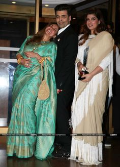 Filmmaker Karan Johar jelled with Twinkle and her mother, actress Dimple Kapadia, who looked graceful in a silk sari.
