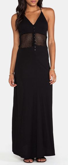 Bobi Supreme Jersey Maxi Dress in Black; and, this, would be great with a nude-colored-cap-sleeve t-shirt under, it; for, a casual look!