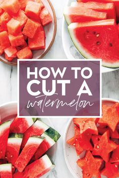 Not sure where to start with these giant red giants? We're showing you our favorite ways to cut a watermelon - cubes, stars, and more! Watermelon Sticks, Cut Watermelon, Watermelon Recipes, Fun Easy Recipes, Easy Snacks, Summer Recipes, Cooking Tips, Cooking Recipes, Gf Recipes