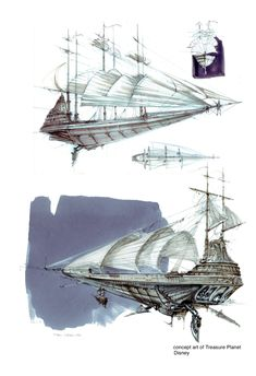 """Disney's Treasure Planet concept art is worth losing your mind over. Fantasy Concept Art, Fantasy Art, Steampunk Ship, Flying Ship, Disney Treasures, Arte Cyberpunk, Treasure Planet, Space Pirate, Fantasy Setting"
