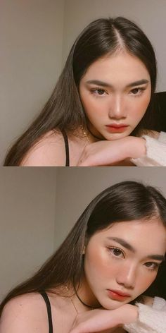 Gorgeous Korean makeup/red lips/perfect brows - Make-Up Makeup Korean Style, Korean Makeup Tips, Korean Makeup Tutorials, Korean Makeup Ulzzang, Makeup Style, Ulzzang Makeup Tutorial, Hair Korean Style, Hair Tutorials, Korean Beauty