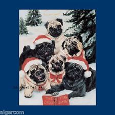 PUGS Fawn Black Dog Puppies 6-Pack Christmas Holiday Cards Ruth Maystead NEW