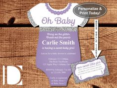 Oh Baby Shower Invitation, Onesie Invitation, Pearls, Glitter, Purple, Silver…